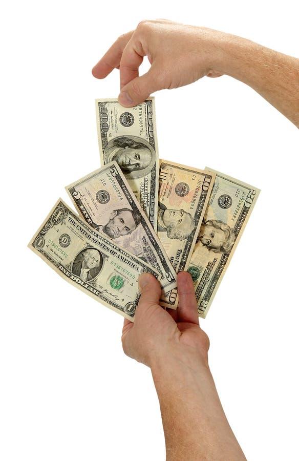Vieja criada del juego con el dinero en circulación americano fotos de archivo