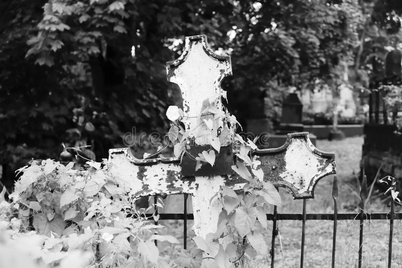 Vieja cruz grave en el cementerio abandonado Rebecca 36 imagenes de archivo