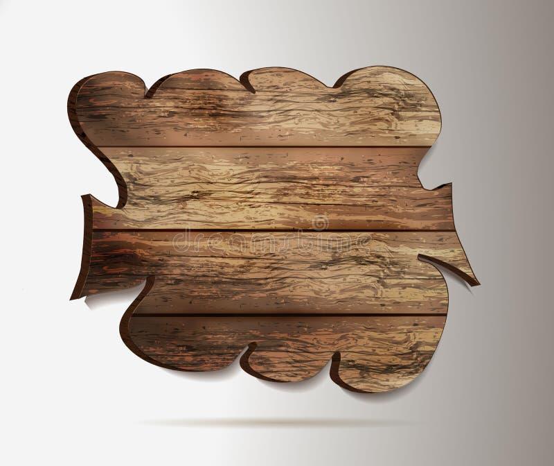 Vieja, de madera 3d muestra - elemento para el diseño maqueta de madera en la bandera de la web del estilo del realismo aislada e ilustración del vector