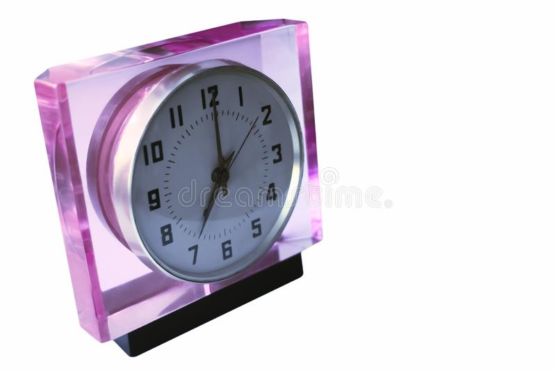 Vieja demostración mecánica del reloj - 07:00 fotografía de archivo