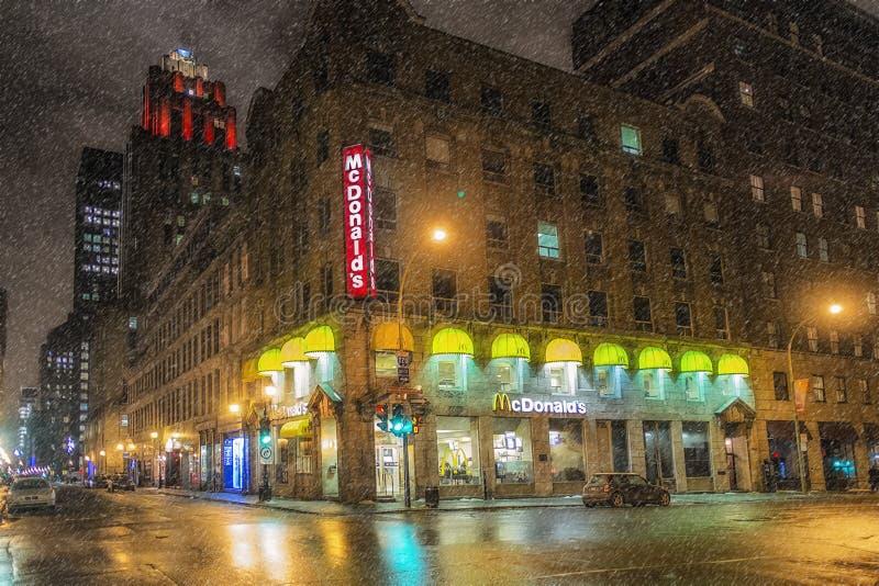Vieja escena de la noche de Montreal fotografía de archivo libre de regalías