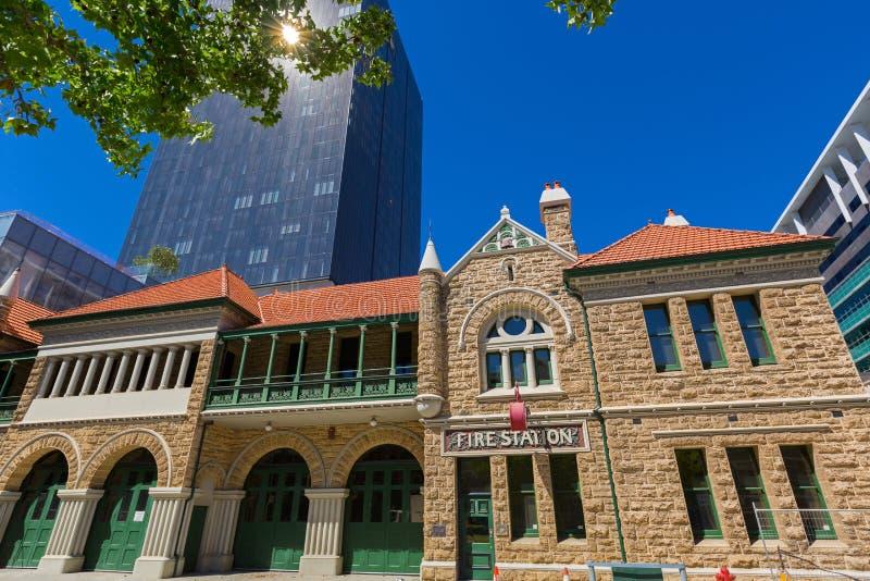 Vieja estación del número 1 del departamento de bomberos del parque de bomberos de Perth en Murray fotos de archivo