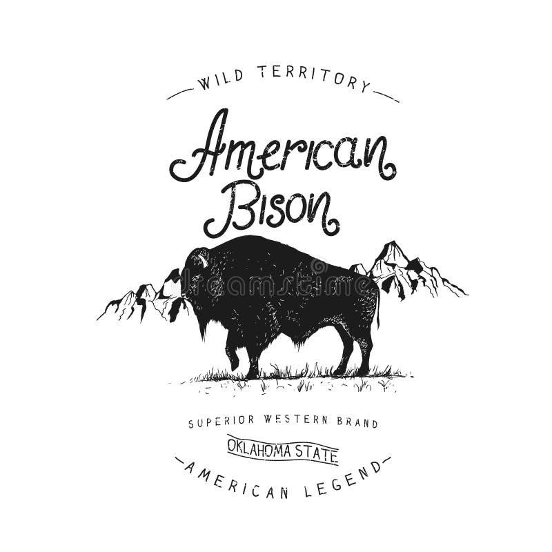 Vieja etiqueta con el bisonte libre illustration