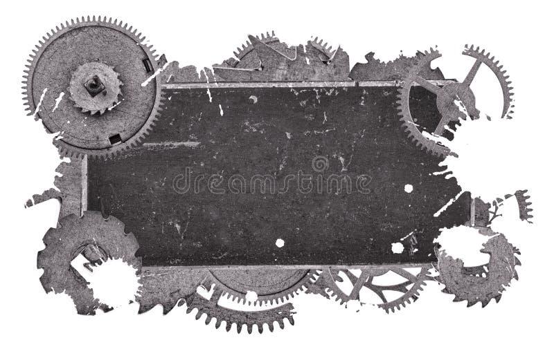 Vieja etiqueta del espacio en blanco gris oscuro del metal en engranajes en blanco stock de ilustración