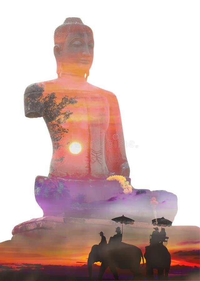 Vieja exposición doble de Buda fotos de archivo