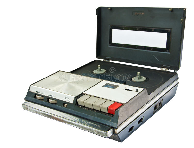 Vieja expulsión del videocasete aislada en el backgroun blanco fotografía de archivo