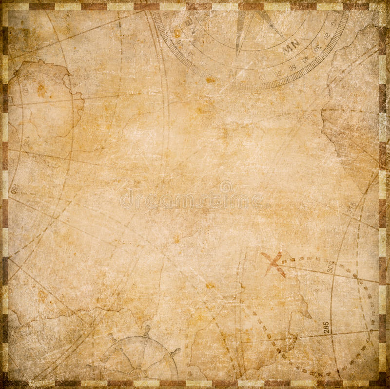 Vieja forma del cuadrado del mapa de los piratas ilustración del vector