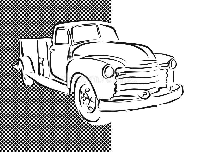 Vieja ilustraciones dibujadas de la camioneta pickup mano libre illustration
