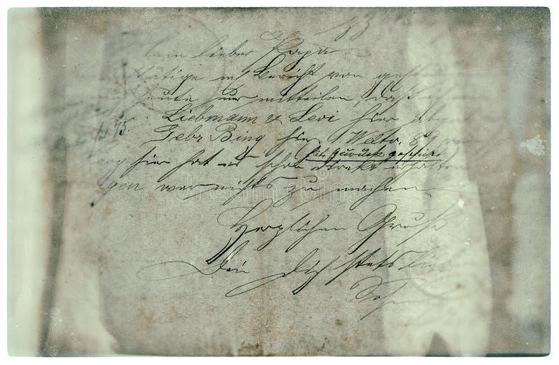 Vieja letra con el texto manuscrito Fondo de papel de Grunge imagenes de archivo