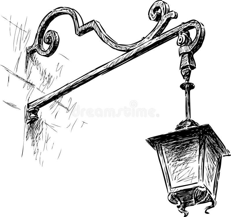 Vieja luz de calle ilustración del vector