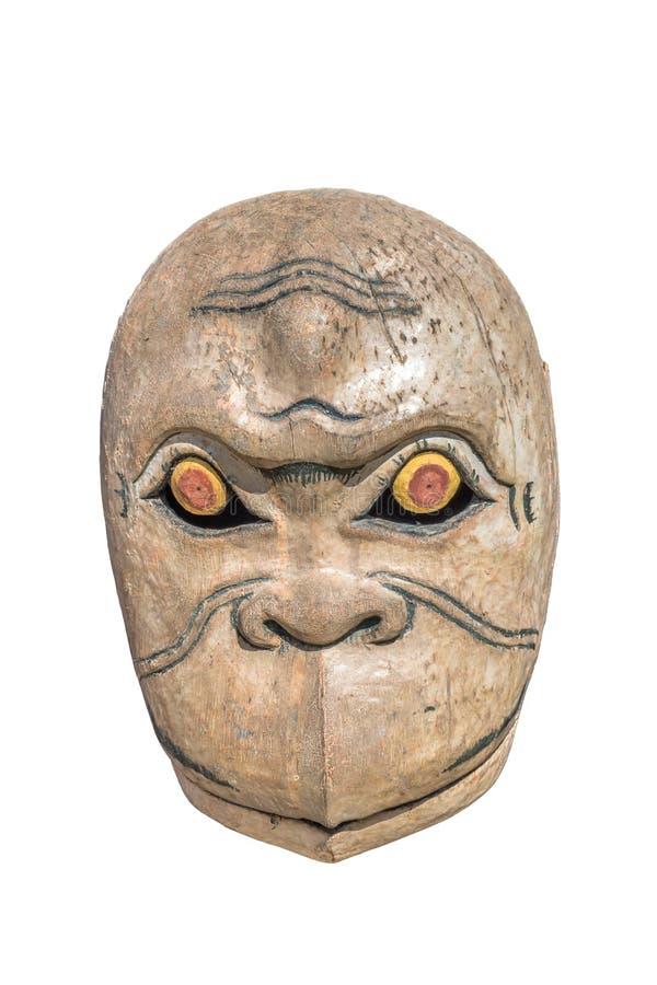 Vieja máscara del mono, aislante fotografía de archivo