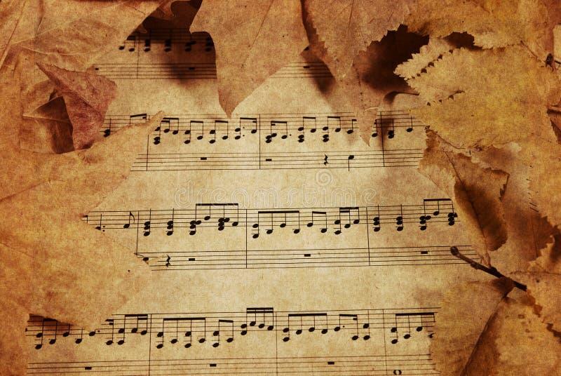 Vieja música y hojas ilustración del vector