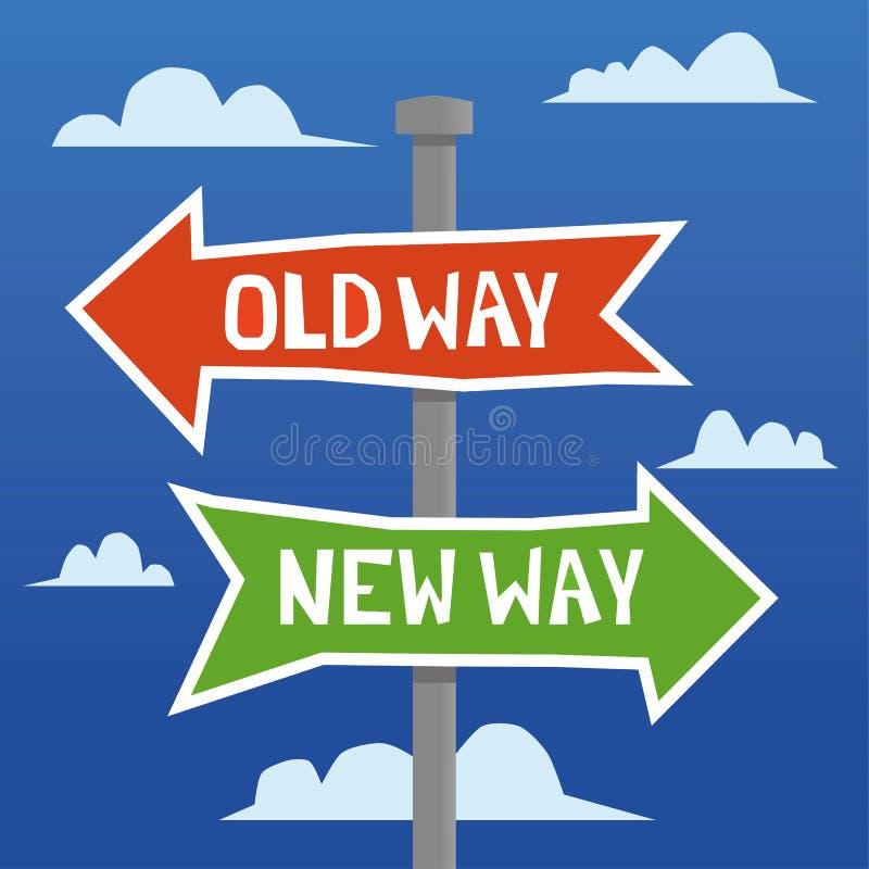 Vieja manera contra nueva manera libre illustration
