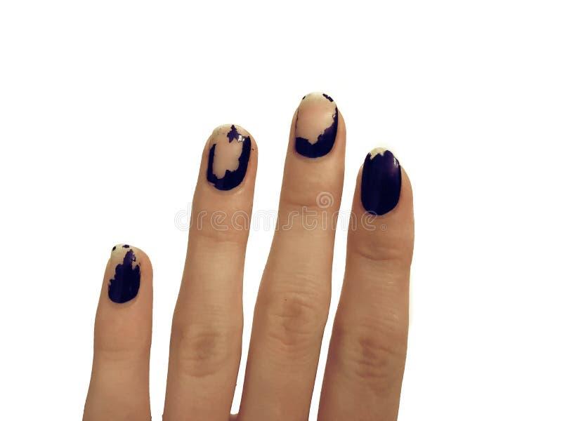 Vieja manicura azul marino Esmalte de uñas lamentable Manos de la mujer en la tabla blanca Spa fotografía de archivo libre de regalías