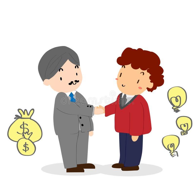 Vieja mano de la sacudida del hombre de negocios con el hombre de negocios joven libre illustration