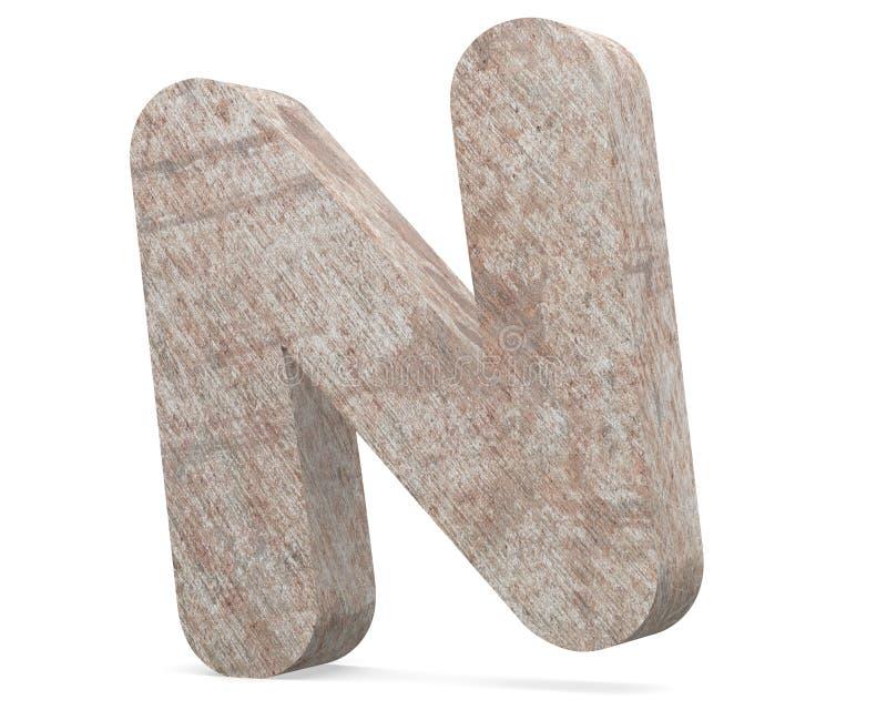 Vieja mayúscula aherrumbrada conceptual del metal - N, el hierro o el pedazo de la industria de acero aislaron el fondo blanco libre illustration