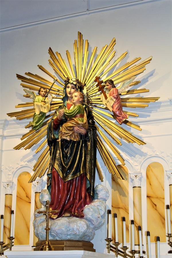 Vieja misión de Adobe, nuestra señora de la iglesia católica de la ayuda perpetua, Scottsdale, Arizona, Estados Unidos fotografía de archivo libre de regalías