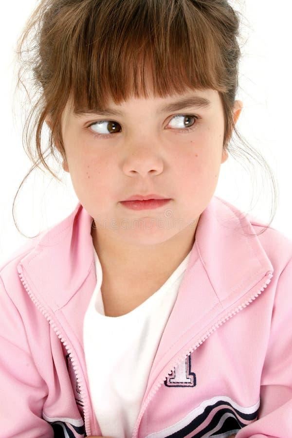 Vieja muchacha de cinco años enojada imagen de archivo libre de regalías