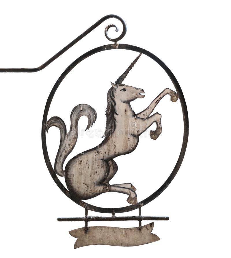 Vieja muestra con unicornio foto de archivo