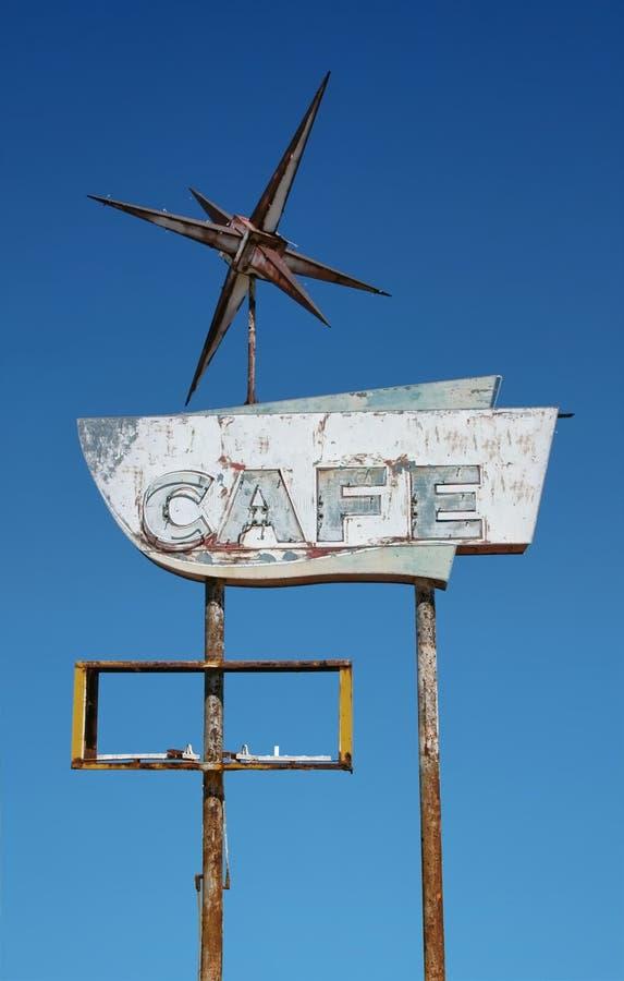 Vieja muestra de neón del café foto de archivo