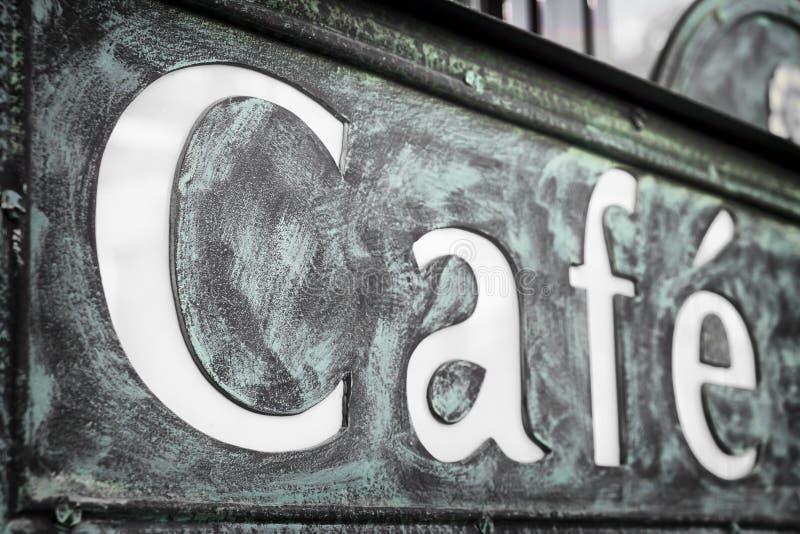 Vieja muestra del café imagenes de archivo