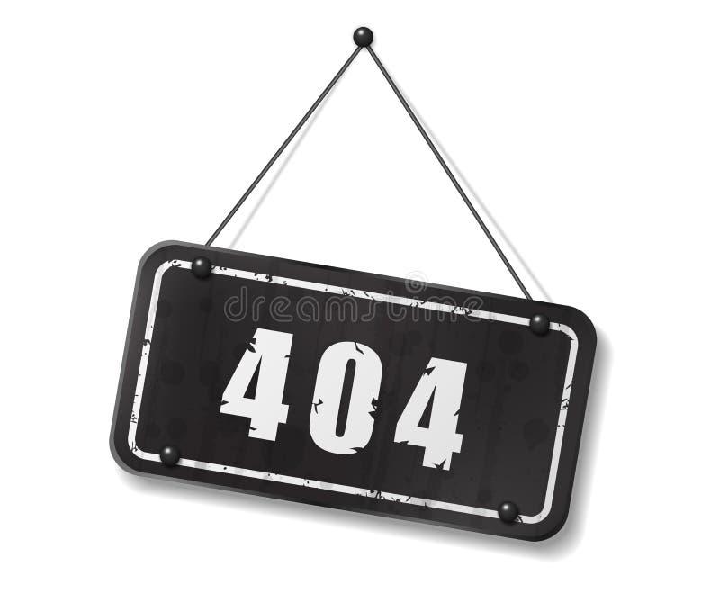 Vieja muestra negra del vintage con el texto 404 ilustración del vector