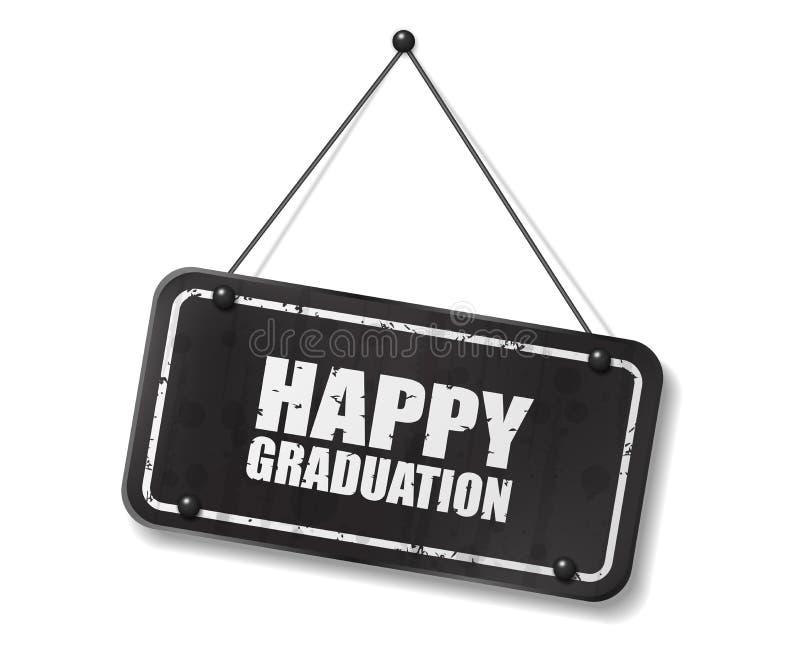 Vieja muestra negra del vintage con el texto feliz de la graduación ilustración del vector