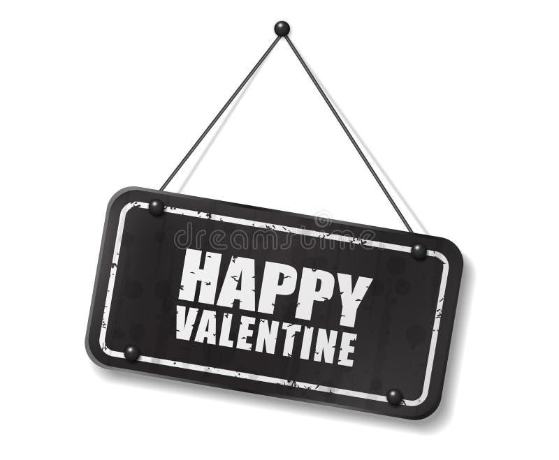 Vieja muestra negra del vintage con el texto feliz de la tarjeta del día de San Valentín ilustración del vector