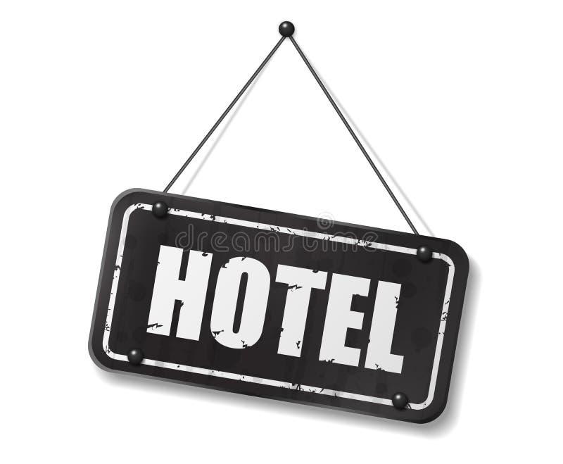 Vieja muestra negra del vintage con el texto del hotel libre illustration