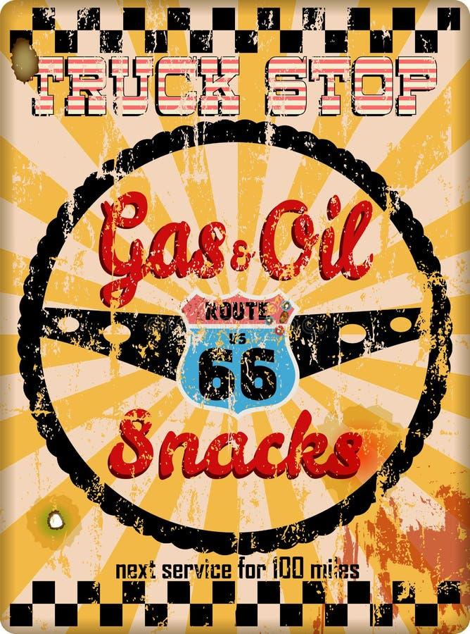 Vieja muestra sucia de la parada de camiones de la ruta 66 stock de ilustración