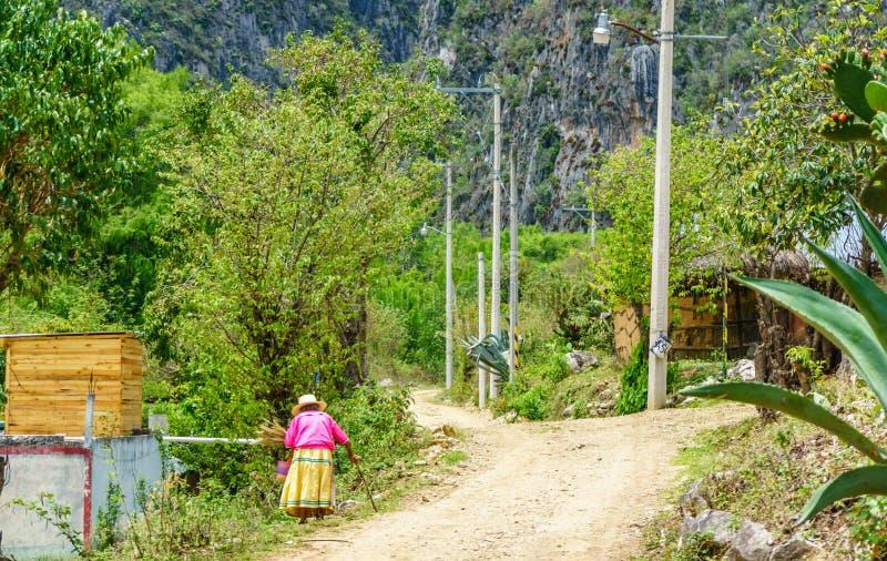 Vieja mujer del maya en pueblo por Oaxaca - México foto de archivo libre de regalías