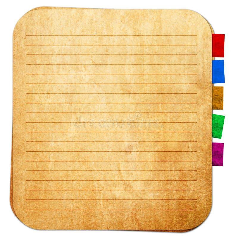 Vieja nota de papel y nota del recordatorio ilustración del vector