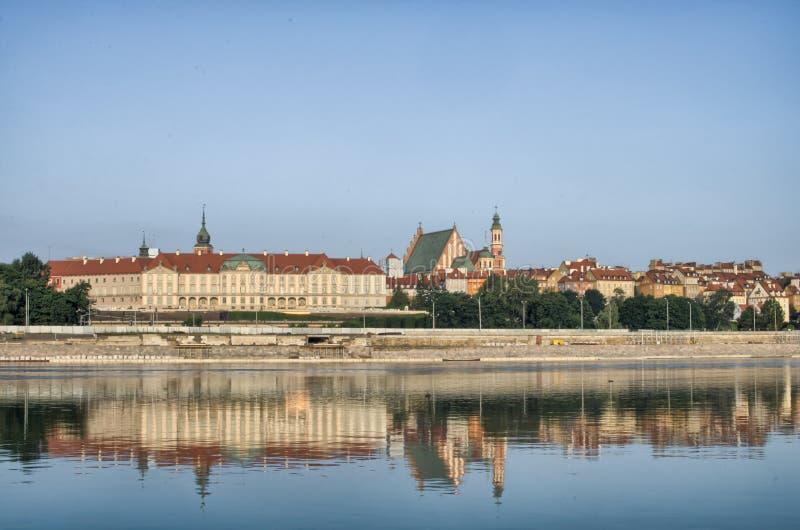 Vieja opinión de la ciudad de Varsovia sobre el río Vistula foto de archivo libre de regalías