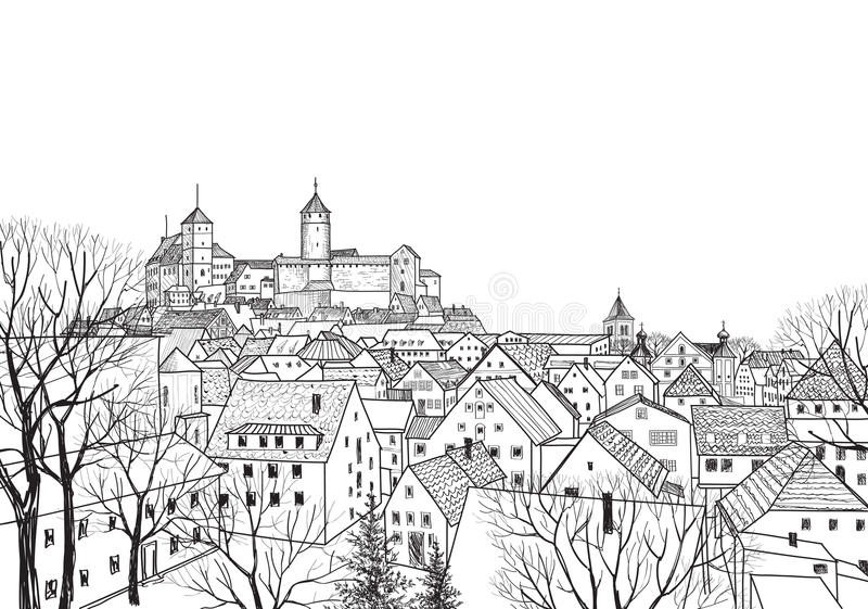 Vieja opinión de la ciudad Paisaje europeo medieval del castillo libre illustration