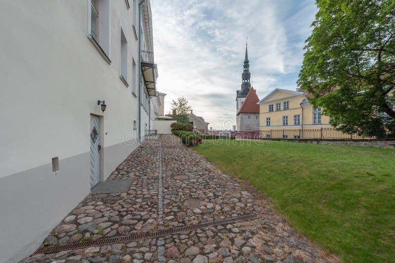 Vieja opinión de la madrugada de la ciudad de Estonia Tallinn fotografía de archivo