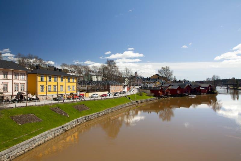 Vieja opinión del panorama del centro de ciudad de Porvoo, Finlandia fotos de archivo libres de regalías