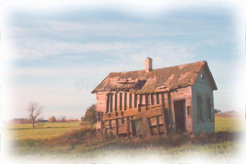 Vieja pintura de la acuarela del cortijo de la granja fotografía de archivo libre de regalías