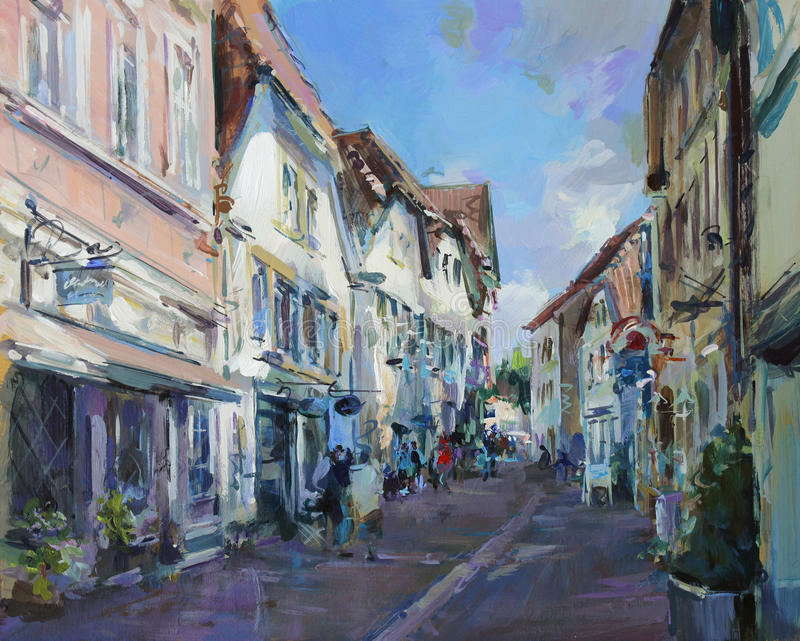 Vieja pintura de paisaje de la ciudad stock de ilustración