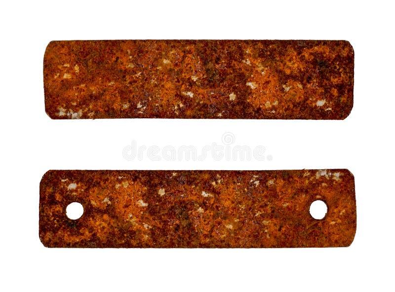 Vieja placa de metal rústica aislada en blanco fotos de archivo