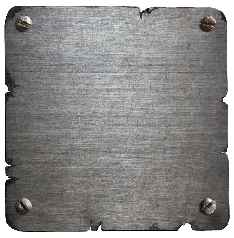 Vieja placa de metal rasgada con los pernos aislados fotografía de archivo libre de regalías