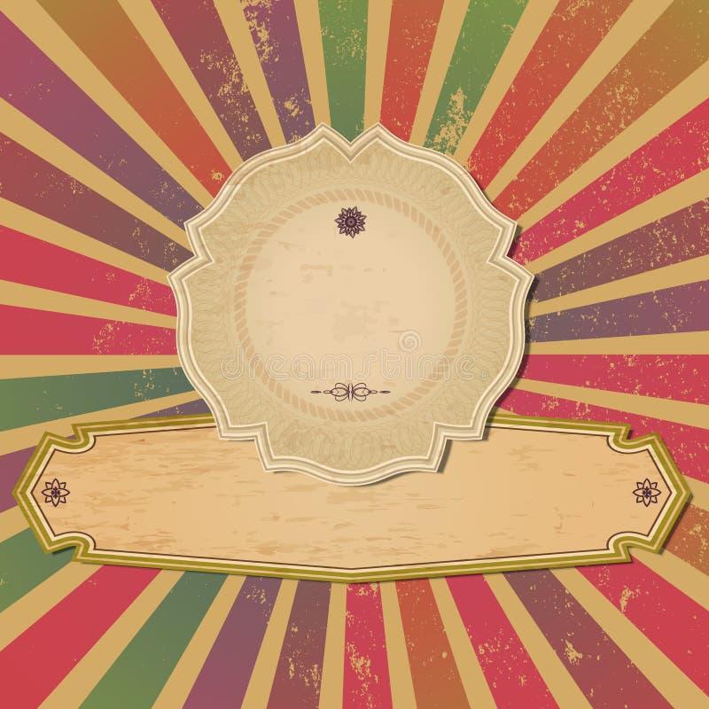 Vieja plantilla del vintage con los rayos de sol. ilustración del vector