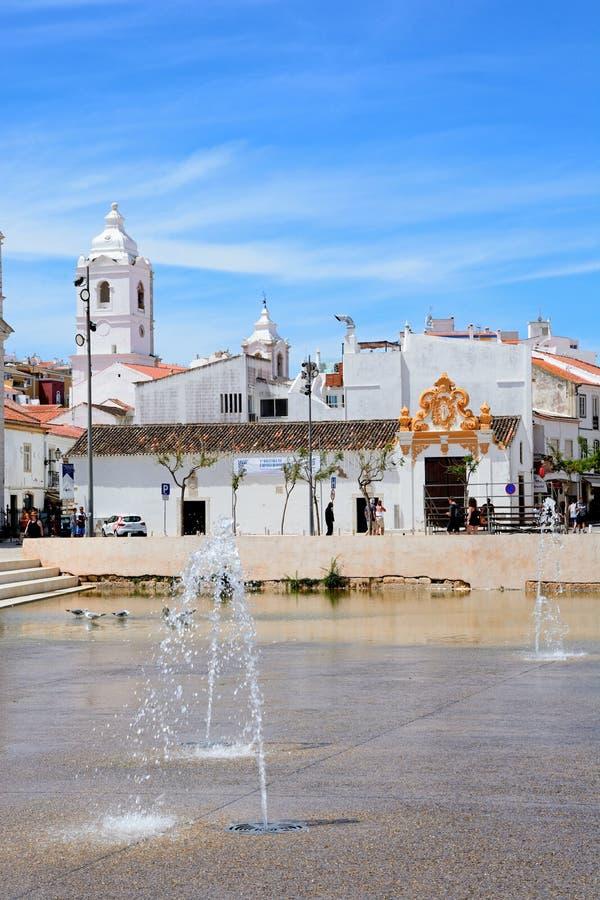 Vieja plaza, Lagos, Portugal foto de archivo libre de regalías