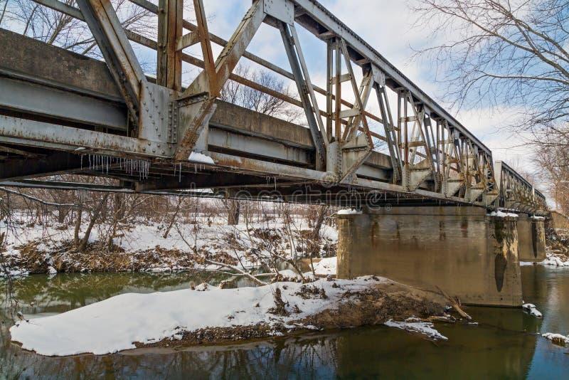 Vieja Pony Truss Bridge triple fotografía de archivo