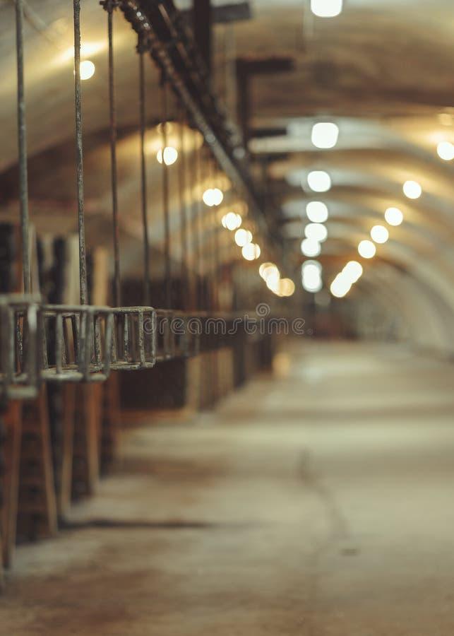 Vieja producción de la banda transportadora de vinos del champán imagen de archivo libre de regalías