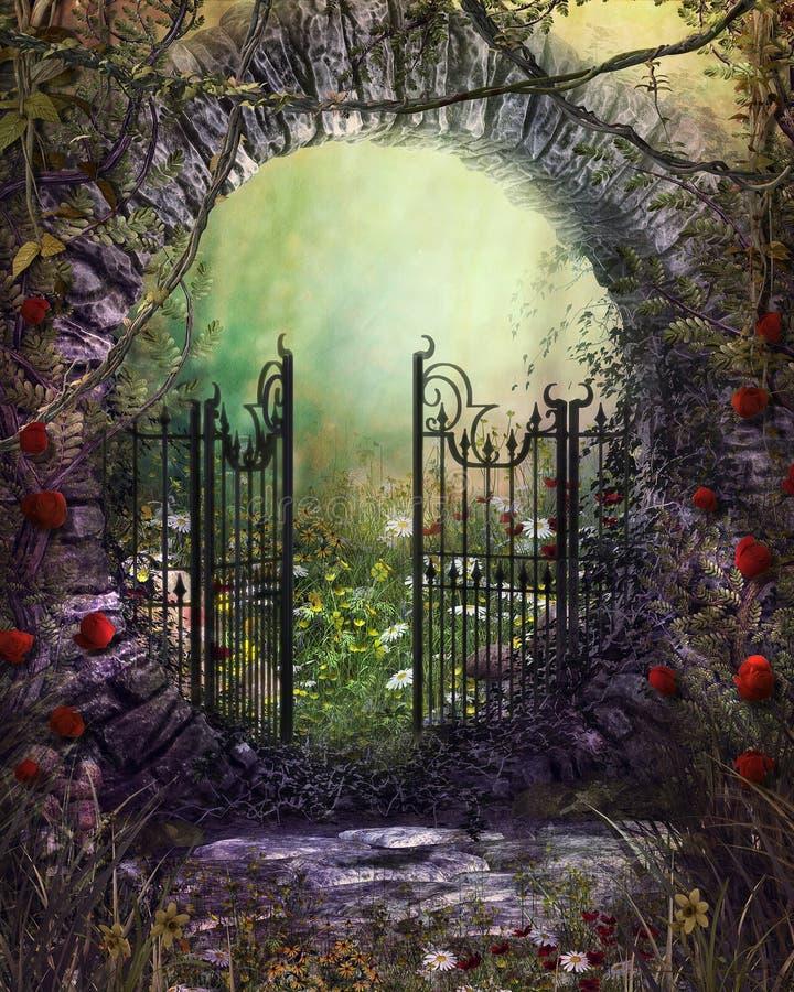 Vieja puerta de jardín encantadora con la hiedra y las flores ilustración del vector
