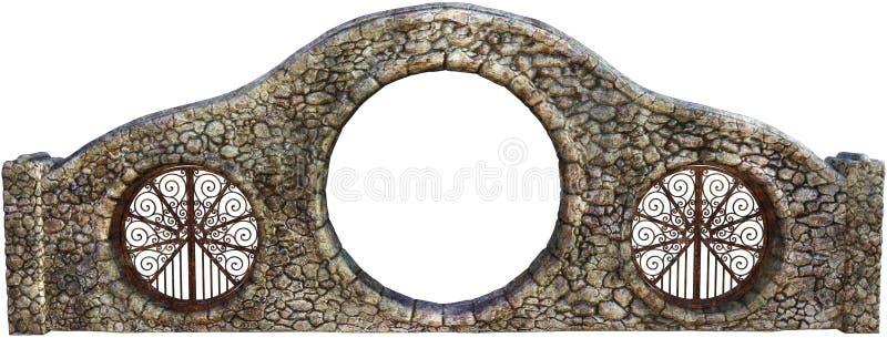 Vieja puerta de la pared de piedra aislada stock de ilustración