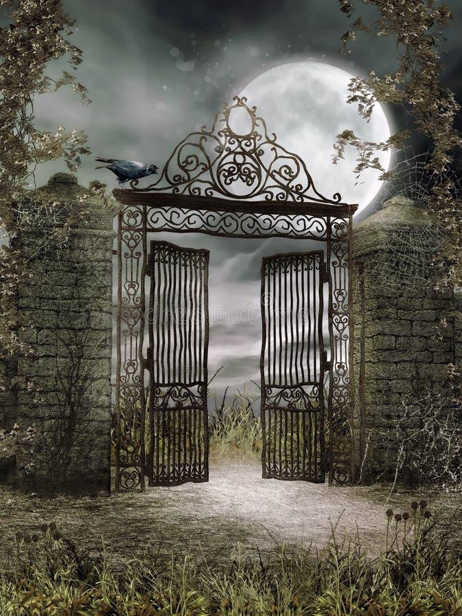 Vieja puerta del hierro en la noche ilustración del vector