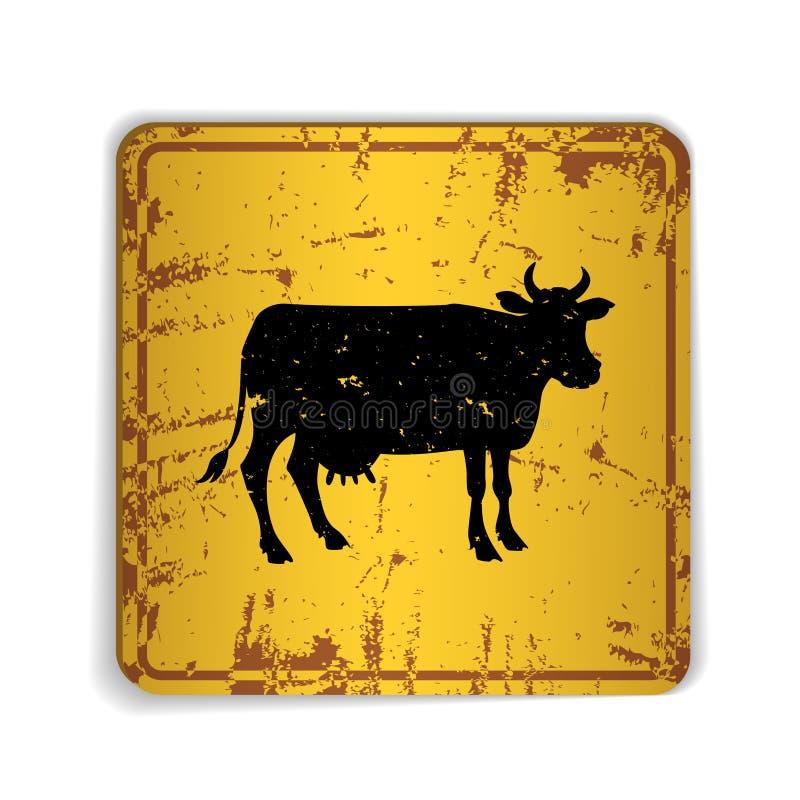 Vieja señal de tráfico amarilla skratched con la silueta de la vaca stock de ilustración