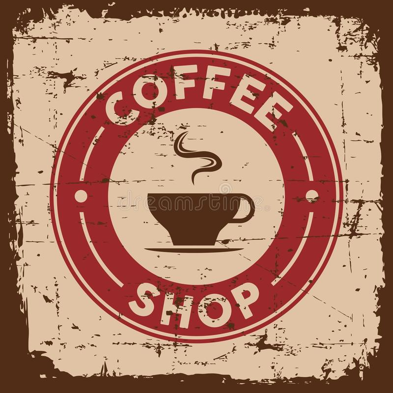 Vieja señalización retra de la muestra del café del vintage ilustración del vector