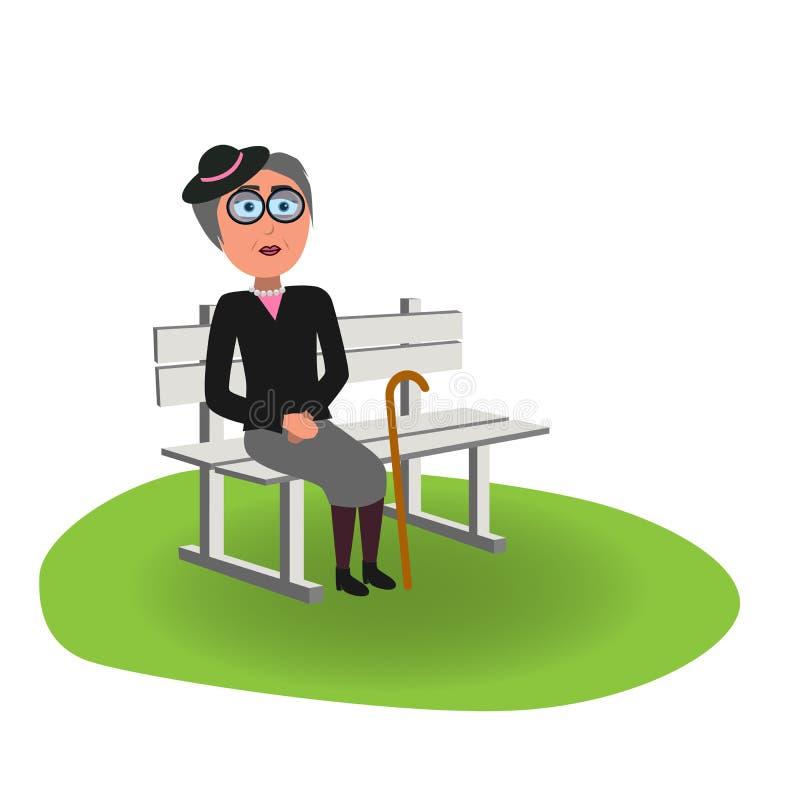 Vieja señora elegante con el sombrero y el palillo que se sientan en banco ilustración del vector